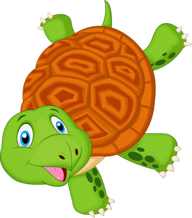 acrobat: Cute turtle cartoon standing with hand  Illustration