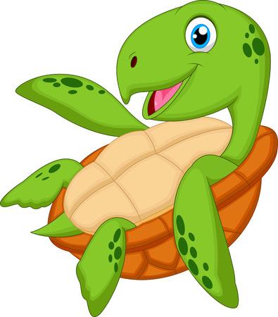 green turtle: Carino mare tartaruga del fumetto
