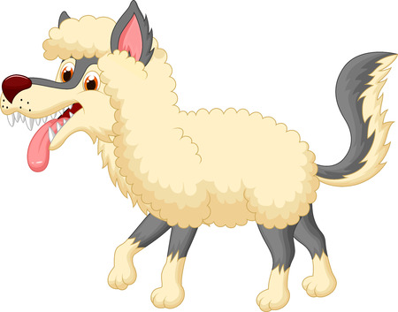 Cartoon Wolf in sheep clothing