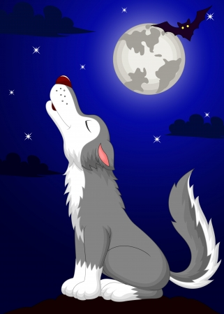 Cute wolf cartoon fowling  Vector