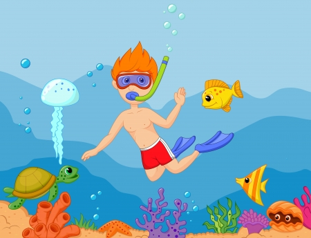 Snorkeling boy cartoon Stock Vector - 24336357