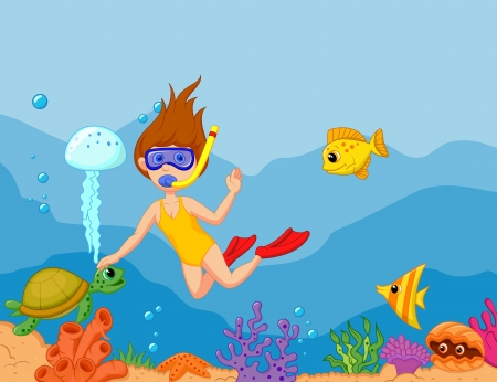 Snorkeling girl cartoon