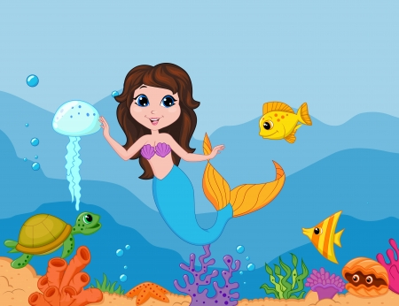 mermaid: Cute mermaid cartoon waving hand  Illustration