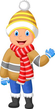 fiúk: Cartoon egy fiú téli ruhát integetett kezével Illusztráció