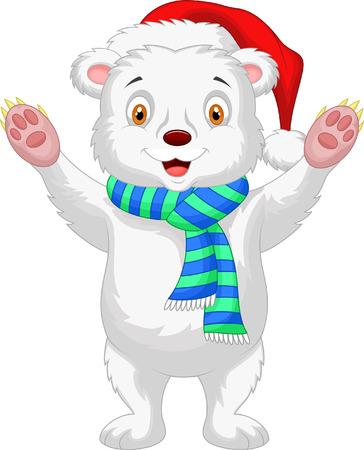 chapeau blanc: B�b� mignon polaire bande dessin�e d'ours portant un chapeau rouge