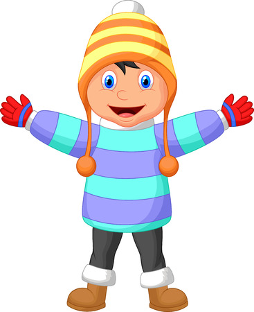 winter clothing: Cartoon a boy in Winter clothes waving hand Illustration