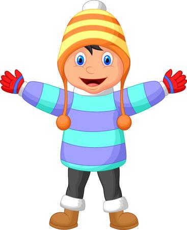 ropa de invierno: Historieta de un muchacho en ropa de invierno agitando la mano