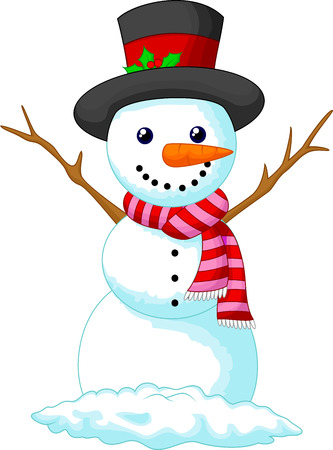 Christmas Snowman cartoon wearing a Hat and red scarf  Vector