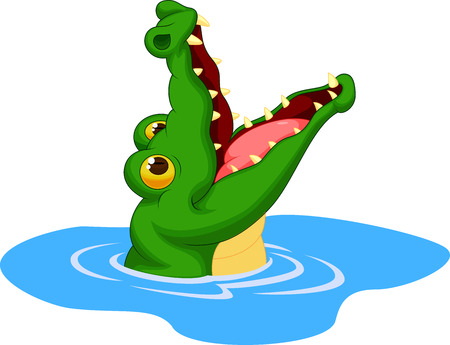 Crocodile cartoon open its mouth  Ilustrace