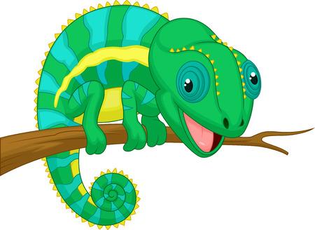 chameleon lizard: Cute chameleon cartoon