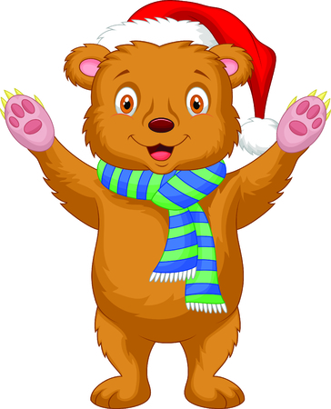 Cute brown bear cartoon wearing red hat Vector