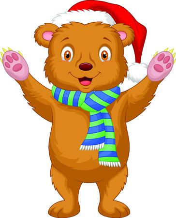 Cute brown bear cartoon wearing red hat Stock Vector - 24469053