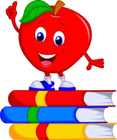 Cute apple cartoon pointing its finger  Illustration