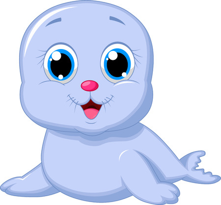 cartoon: Historieta linda foca Vectores