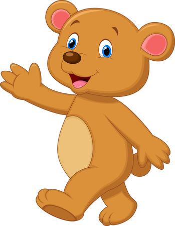brown: Cute brown bear cartoon waving hand  Illustration