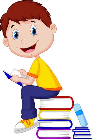 infant school: Boy cartoon reading book