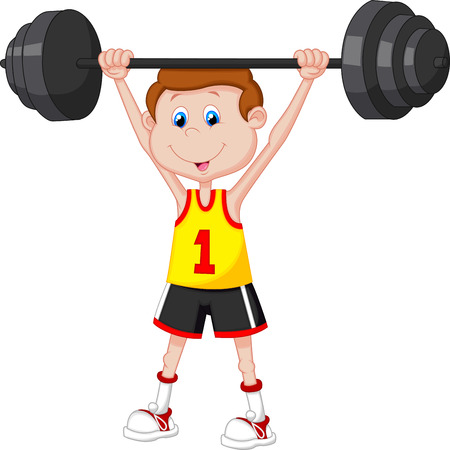 perfect body: Cartoon man lifting barbell  Illustration
