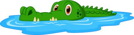 crocodile: Natación linda de la historieta del cocodrilo