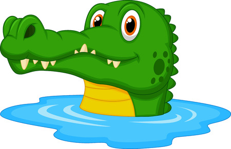 alligator: Cute crocodile cartoon swimming  Illustration