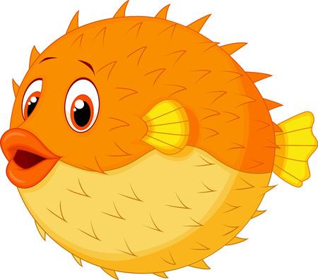 pez globo: Lindo globo de dibujos animados de pescado Vectores