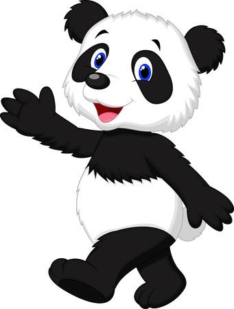waving hand: Cute panda cartoon waving hand  Illustration