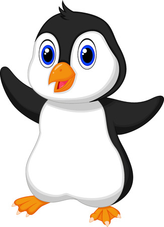 Cute baby penguin cartoon  Ilustrace