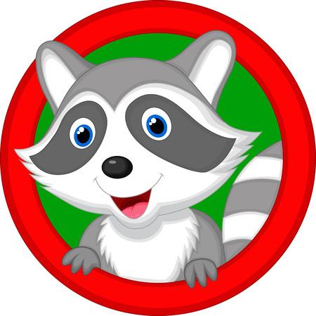raccoon: Cute raccoon cartoon posing  Illustration