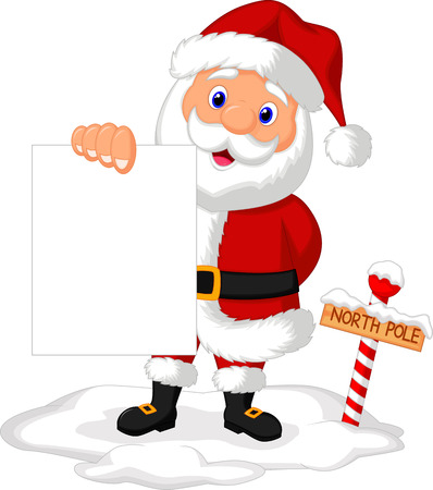 Santa cartoon holding blank paper  Vector