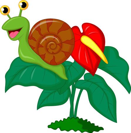 gastropod: Cute snail cartoon on leaf  Illustration