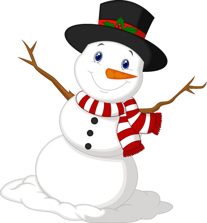 Christmas Snowman cartoon wearing a Hat and red scarf  Çizim