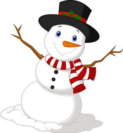 Dibujos animados del muñeco de nieve que llevaba un sombrero y una bufanda roja Foto de archivo - 24336437