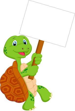 green turtle: Turtle cartoon holding blank sign