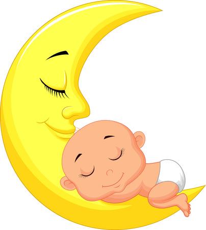 Cute baby cartoon sleeping on the moon   イラスト・ベクター素材