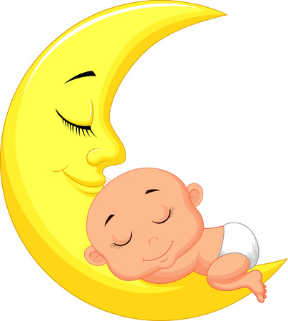 Cute baby cartoon sleeping on the moon  Ilustracja