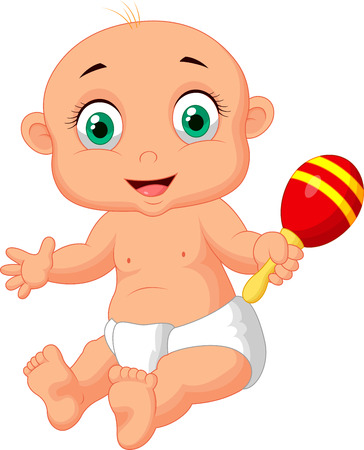 Cute baby cartoon playing with macara toy