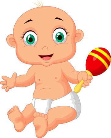 Historieta linda del bebé que juega con el juguete del Macará