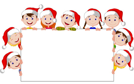 Kids cartoon with a blank sign and christmas hats  Vector