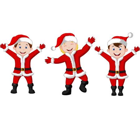 tanzen cartoon: Glückliche Kinder Karikatur in Santa Kostüm