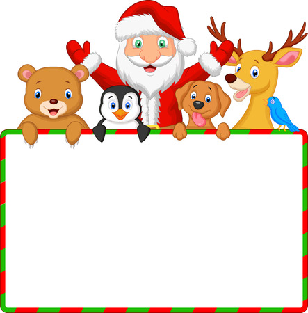 at sign: Cartoon Santa and friend with blank sign  Illustration