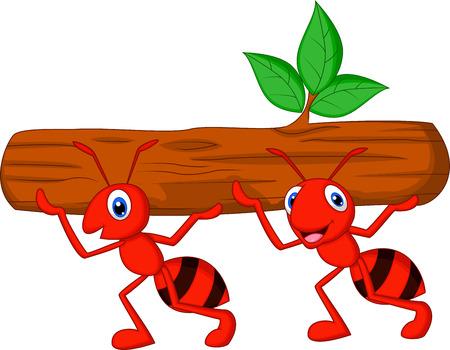 Squadra di formiche fumetto trasporta il registro