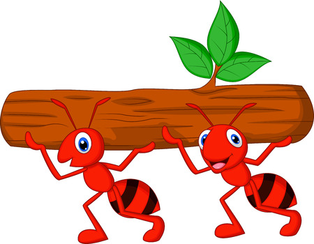 red ant: Team of ants cartoon carries log