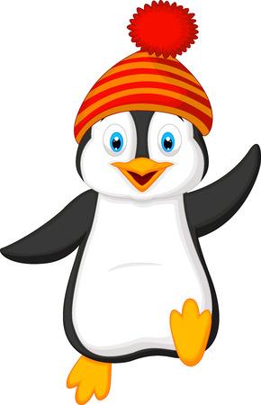 Uroczy pingwin ma na sobie czerwony kapelusz kreskówka