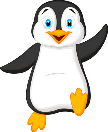 antarctica: Cute penguin cartoon waving Illustration
