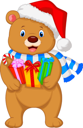 Cute brown bear cartoon holding gifts Vector