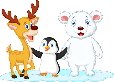 Cute animal cartoon standing on ice Vector
