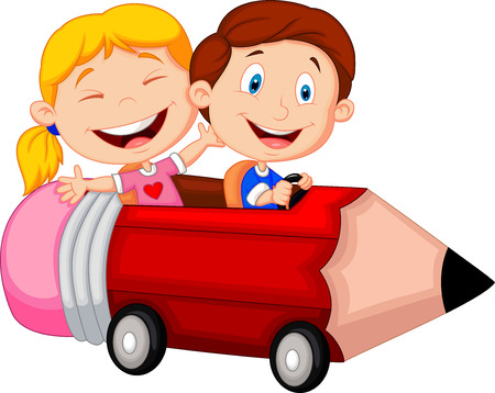 Happy children cartoon riding pencil car