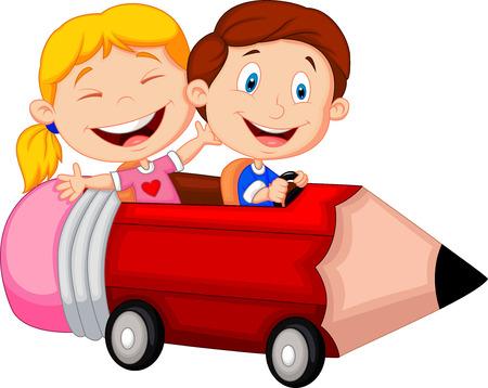 students studying: Happy children cartoon riding pencil car