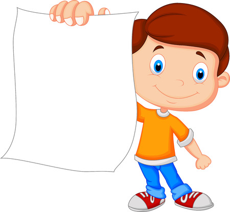 students college: Cartoon boy holding blank paper