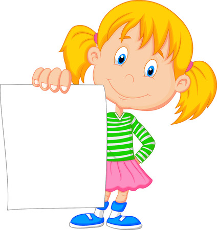 Cartoon girl holding blank paper