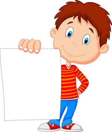 teaching children: Cartoon boy holding blank paper